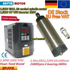 ◤Ger◢  1.5KW Air cooled Spindle Motor ER11 24000rpm 220V 65mm+1.5KW VFD Inverter