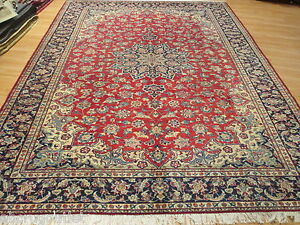 ESTATE Circa 1950 9x12 Intricate Vegetable Dye Handmade-knotted Wool Rug 580555