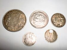 - Australia - 5 Silver (Pre-Decimal)Coins - Florin,Shilling,6P & 3Px2 -1943 -Vf