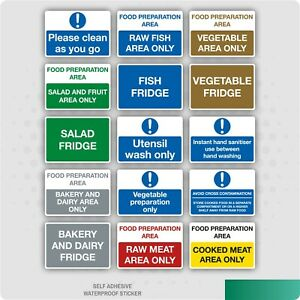 Food Hygiene Kitchen Stickers - Fish / Raw / Cooked Meat / Vegetables S/A Vinyl