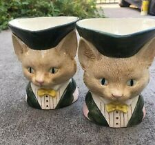 Vintage Fitz & Floyd Cat Kitten Toby Mug Cup Pitcher Hard to Find Set of 2-
