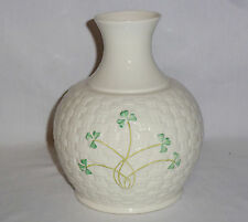 "Belleek Shamrock Vase Basket Weave (7"" Tall)"