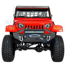 "Front Bumper+Winch Plate+2x LED Light+21"" LED Light for 97-06 Jeep Wrangler TJ"