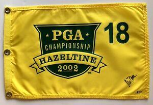 Rich Beem signed 2002 Pga Flag hazeltine golf championship beckett coa