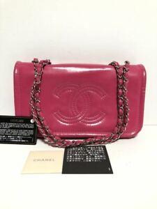 CHANEL Coco mark Chain shoulder bag Shoulder Bag Vinyl patent Pink