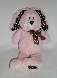 GANZ Plush CHOCOLATE DROPS BUNNY Rabbit Pink Brown Polka Dots Stuffed Animal