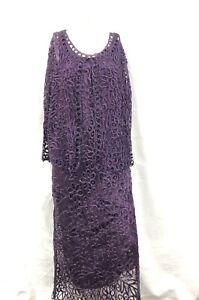 Soulmates Women's Silk Dress Purple Hand Crochet Vintage Formal