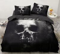 3D Black Skull ZHUA1456 Bed Pillowcases Quilt Duvet Cover Set Queen King Zoe
