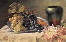 Still Life, Grapes, Flower, Vase, Pot, S. Hildesheimer