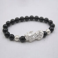 Pure S925 Sterling Silver Bangle Black Agate Coin Beads Pixiu 貔貅 Bracelet / 8mm