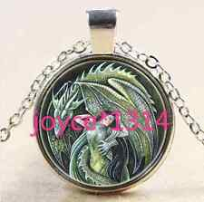 Glass Chain Pendant Necklace #1878 Dragon and Dragon Mother Cabochon silver