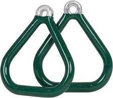 SWING SET STUFF COMMERCIAL COATED TRIANGLE TRAPEZE RINGS GREEN (PAIR) parks 0017