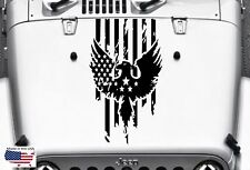 EAGLE American Flag Distressed Hood Blackout vinyl Decal (Fits Jeep Wrangler)