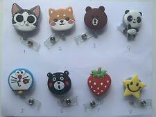 Cartoon Work ID Badge Holder Lanyard Clip Cap Panda Strawberry Cat Bear 5 Pcs