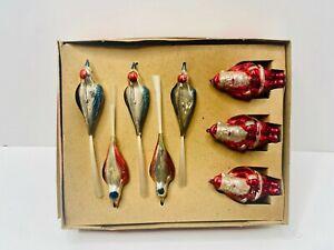 "VTG 1950's ""Shiny-Brite Bird and Santa Ornaments""/Christmas Ornaments/Gift Idea"