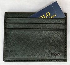 Polo Ralph Lauren Mens Wallet Slim Card Case Black Leather NWT NEW $78