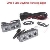 2X 3 LED White High Power Car DRL Daytime Running Light Fog Lamp Universal 12 w/