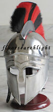 MEDIEVAL GREEK CORINTHIAN HELMET WITH PLUME SPARTAN ARMOUR FREE WOODEN STAND