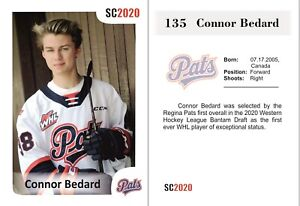 2020 SC #135 Connor Bedard white RC Rookie Regina Pats 2023 NHL #1 DRAFT HOT !!