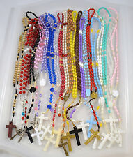 Rosary LOT of 21 Assorted Rosaries Glow in Dark Plastic Wooden NICE Lot #2836