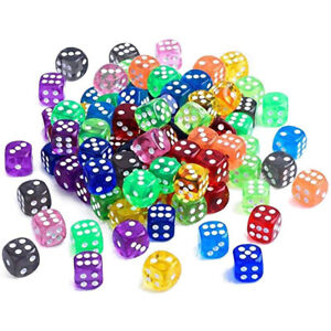 10Pcs 16mm 6 Sided Spot Dice Color for Ludo Monopoly Board Games Replacement dm