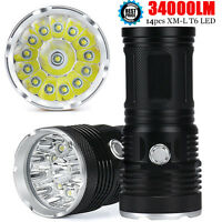 34000LM 14 x CREE XM-L T6 LED Flashlight Torch 4x 18650 Hunting Light Lamp