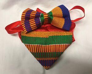 African real Kente print  cloth pattern cotton Ankara Men bow tie  Neck Tie