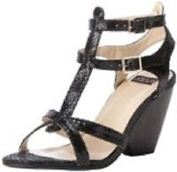 NEW NYLA Busia Platform Strappy Wedge Sandal Black Snake Women's 9 MSRP $109