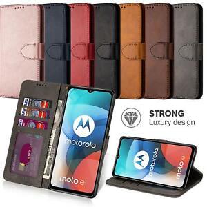 For Motorola Moto E7 Leather Case Flip Wallet Cover Premium Book Heavy-Duty
