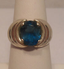 Vintage Estate~Kabana London Blue Topaz 925 Sterling Silver Ring Size 7.5