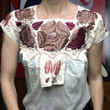 Oaxacan Mexican Antique Tehuana Huipil Victorian 1890s Blouse  Embroidered Xs/S