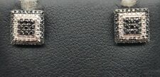 Sterling Silver 925 Dotted Square Illusion Cluster Black Onyx Stud Post Earrings