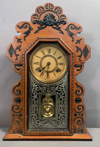 Ca1900 Antique ANSONIA Old GINGERBREAD Style CARVED Wood VICTORIAN KITCHEN CLOCK