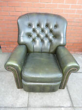 A Green Leather Chesterfield Recliner Arm/Wing Chair