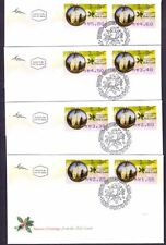 "4 ISRAEL FDC COVERS AUTOMATE STAMPS, ""NAZARETH CHRISTMAS POST"" 2007"