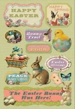 Scrapbooking Crafts Kf Stickers Easter Bunny Was Here Hunting Eggs Spring Chick
