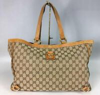 Auth Gucci Shoulder Bag Tote GG Canvas Monogram USED Beige Women Purse G0390