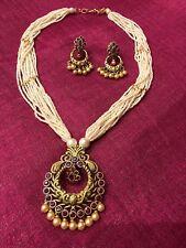New Indian Pakistani Ethnic Matt Polish Pearl Jewelry Pendant Necklace Earring