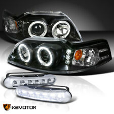 New Listingfit 1999 2004 Ford Mustang Black Halo Projector Headlightsdriving Led Fog Lamps Fits Mustang