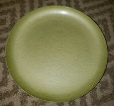 """Vintage Moire Glaze Green Enamel Metal Footed Bowl by Kyes 11 1/2"""" D Mid Century"""