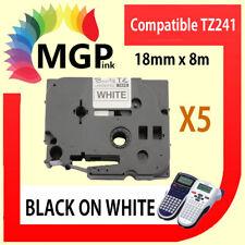 5 Laminated Bk on White 18mm Label Tape for Brother Tz241 Pt-9600 Pt-2700 Pt2730
