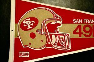 VINTAGE 1980's SAN FRANCISCO 49ERS NFL FOOTBALL TEAM  PENNANT RARE UNIQUE