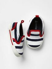 GAP Baby Boys Size 0-3 Months Nautical Red / White / Blue Striped Slip-On Shoes