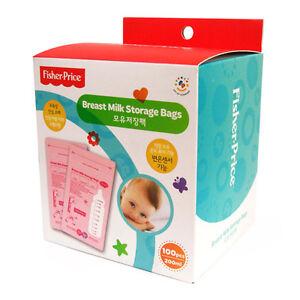 Fisher Price Breast Milk Storage Bags 6.76oz 100 Count BPA Free Pink FP001