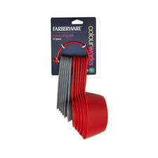 Farberware Nesting Measuring Cups and Spoons Set, Plastic, 12 Piece - Red Gray