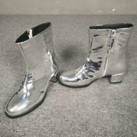 Occident Winter Patent leather Round Toes Womens Low Heels Zip Ankle Boots