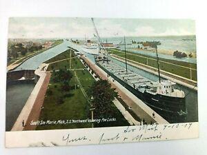 Vintage Postcard Sault Sre Marie Michigan S.S. Northwest entering Poe Locks