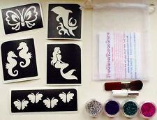 GLITTER TATTOO KIT GIRLS BUTTERFLY/OCEAN 5 STENCILS/4 GLITTERS/GLUE 25 tattoos
