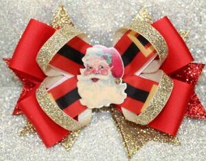 Classic Santa Christmas Themed Handmade Hairbow Hair Bow