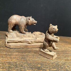 Vtg Antique Black Forest Carved Wood Bear Lot (2) Germany Inkwell German Figures